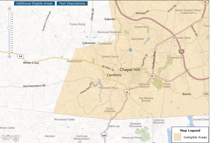 Chapel Hill towards Carrboro Currently Qualified Areas